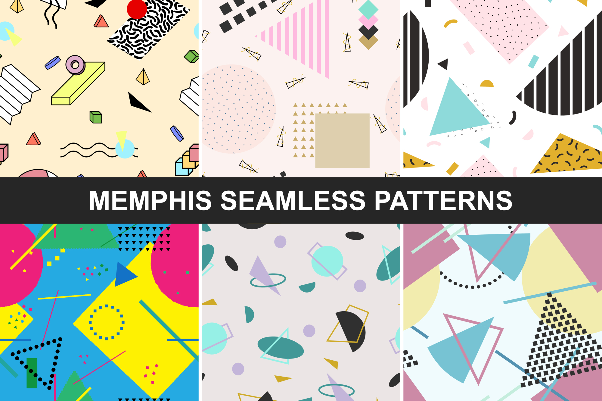 Abstract memphis seamless patterns. example image 1