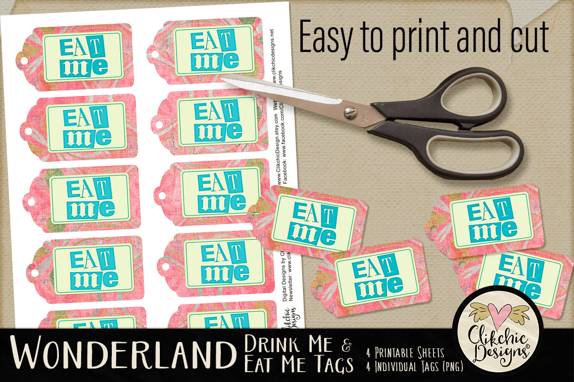Wonderland Eat Me Drink Me Printable Tags example image 3