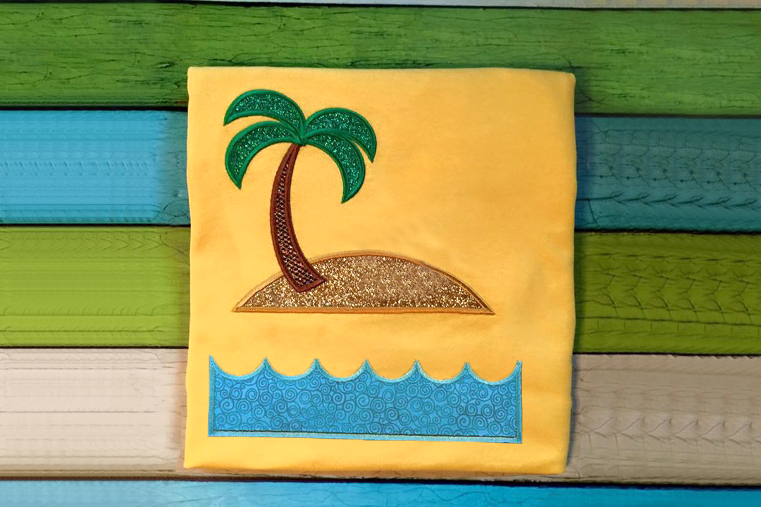 Tropical Island Split Applique Embroidery Design example image 1