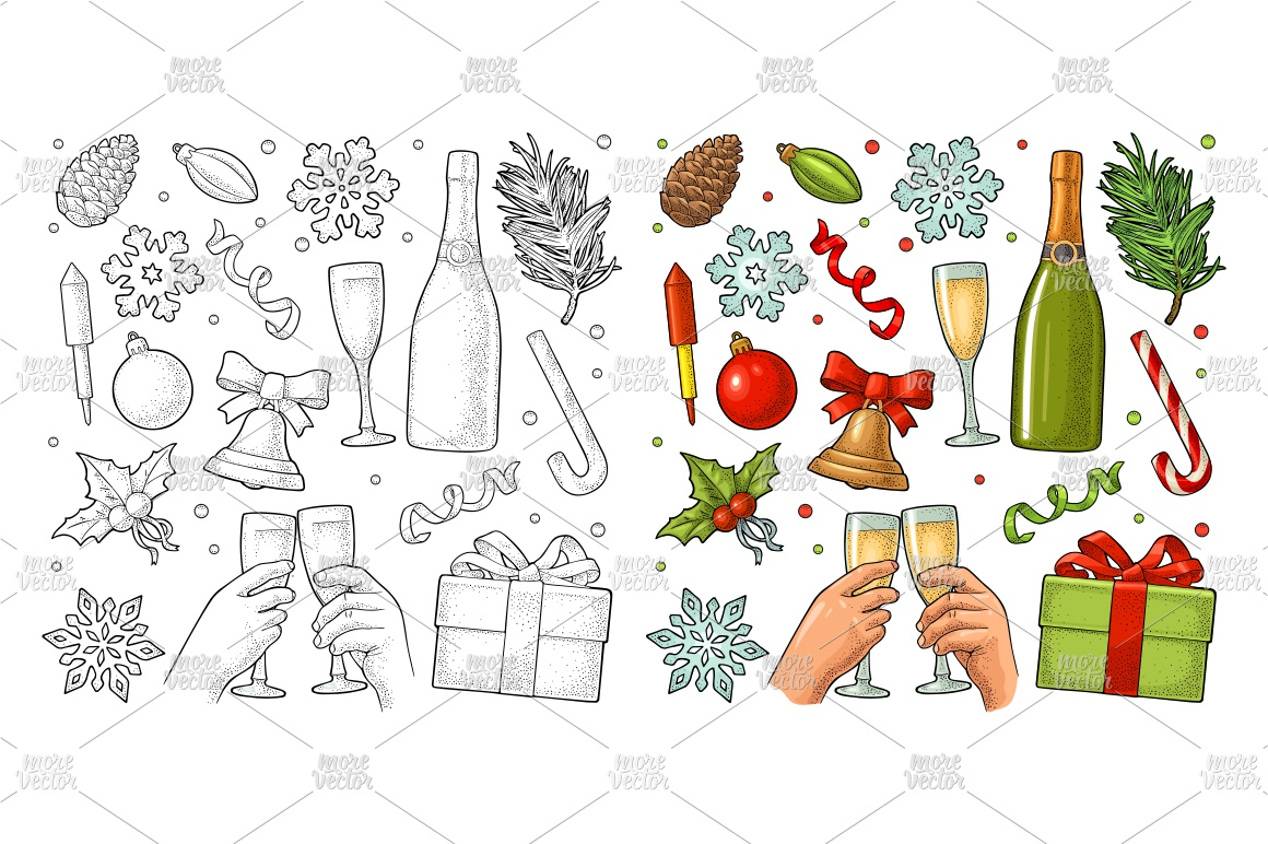 Merry Christmas and Happy New Year set Vector engraving example image 1