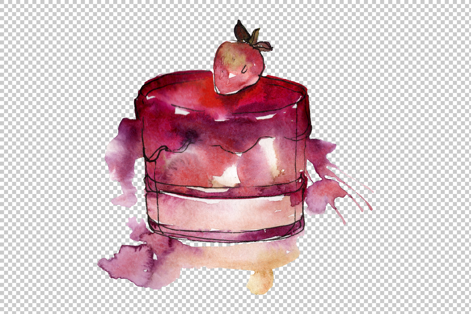 Dessert Love story Watercolor png example image 6