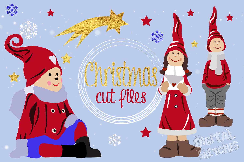 Christmas Cut File Set Elf Gnome Imp Stars Vector Silhouette example image 3