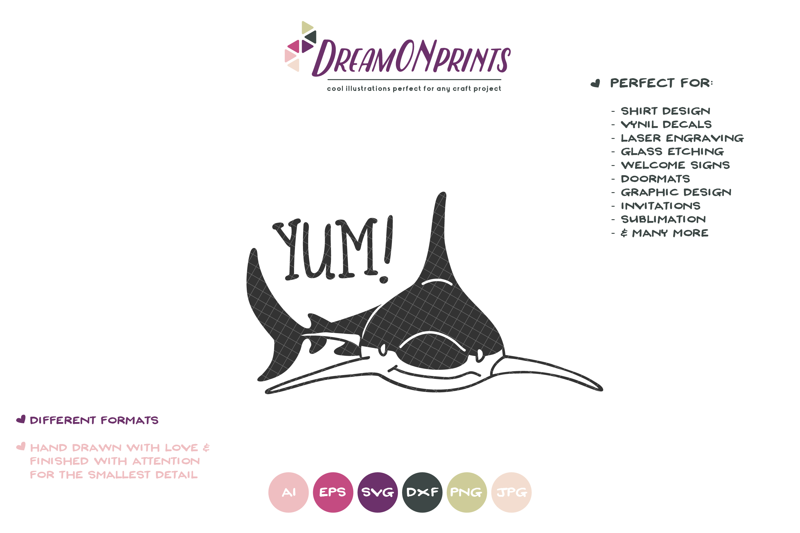 YUM! | A Fun Shark SVG | Funny Shark Illustration example image 2
