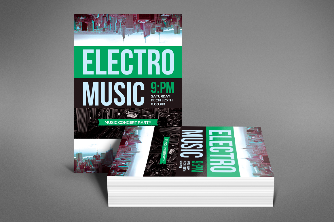 Modern Electro Music Flyer example image 4