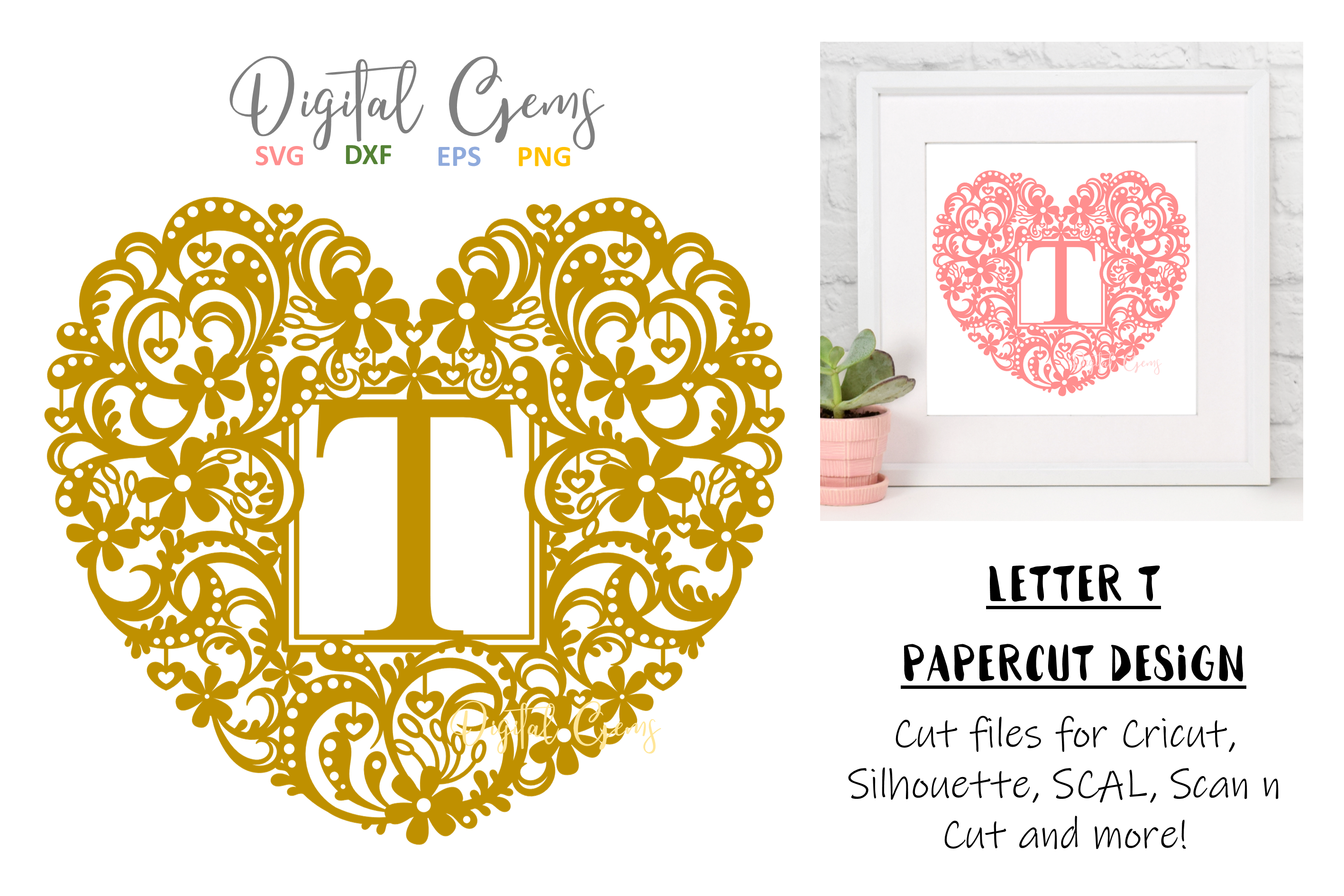 Letter T paper cut design. SVG / DXF / EPS / PNG files example image 1