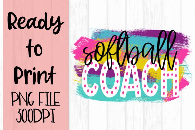 Softball Coach Bright Preppy Design Ready to Print example image 1