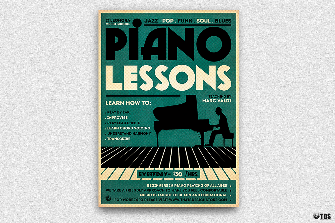 Piano Lessons Flyer Template example image 5