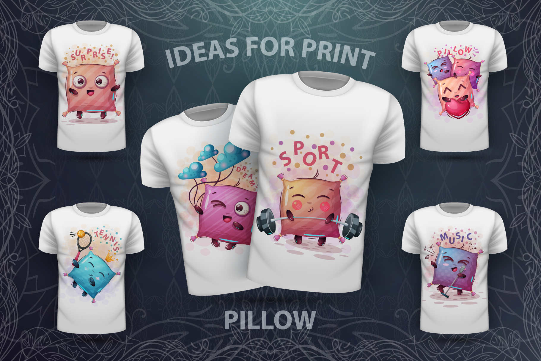 Set cute pillow - for print t-shirt example image 1