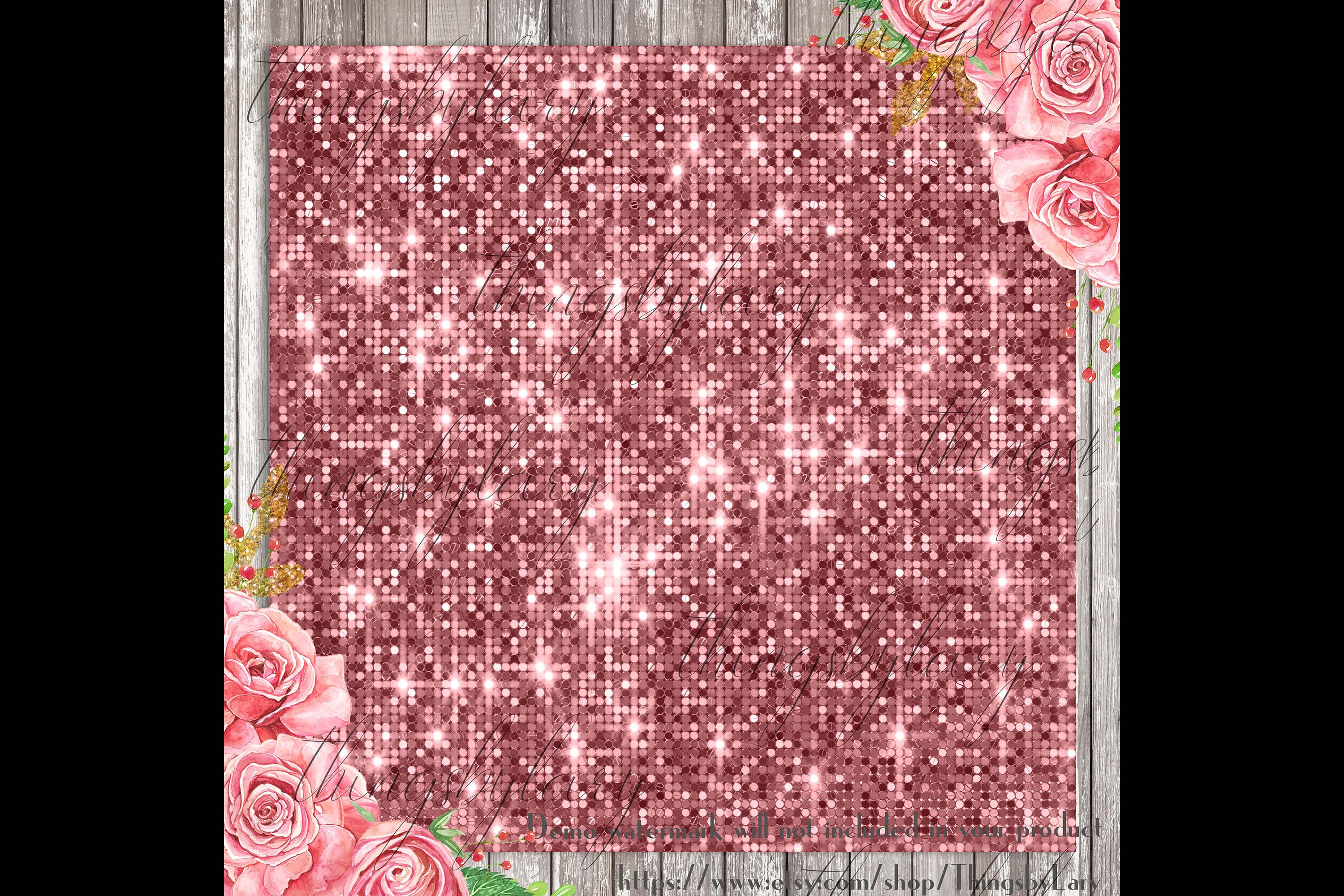100 Seamless Glowing Bling Bling Disco Sequin Digital Papers example image 2
