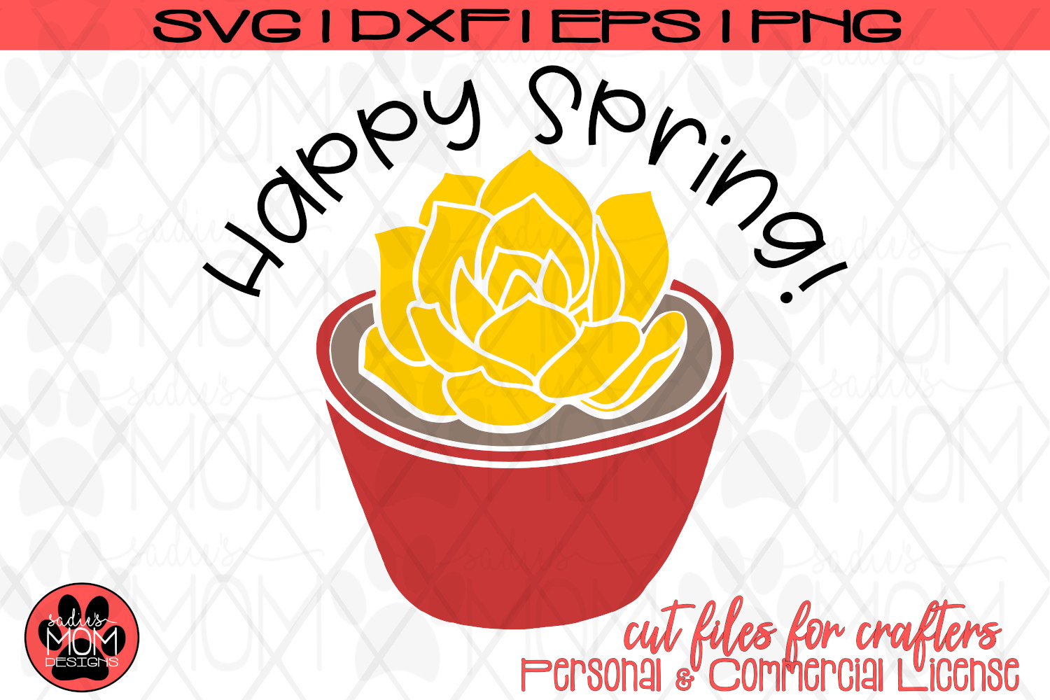 Happy Spring - Potted Flower | SVG Cut File example image 4