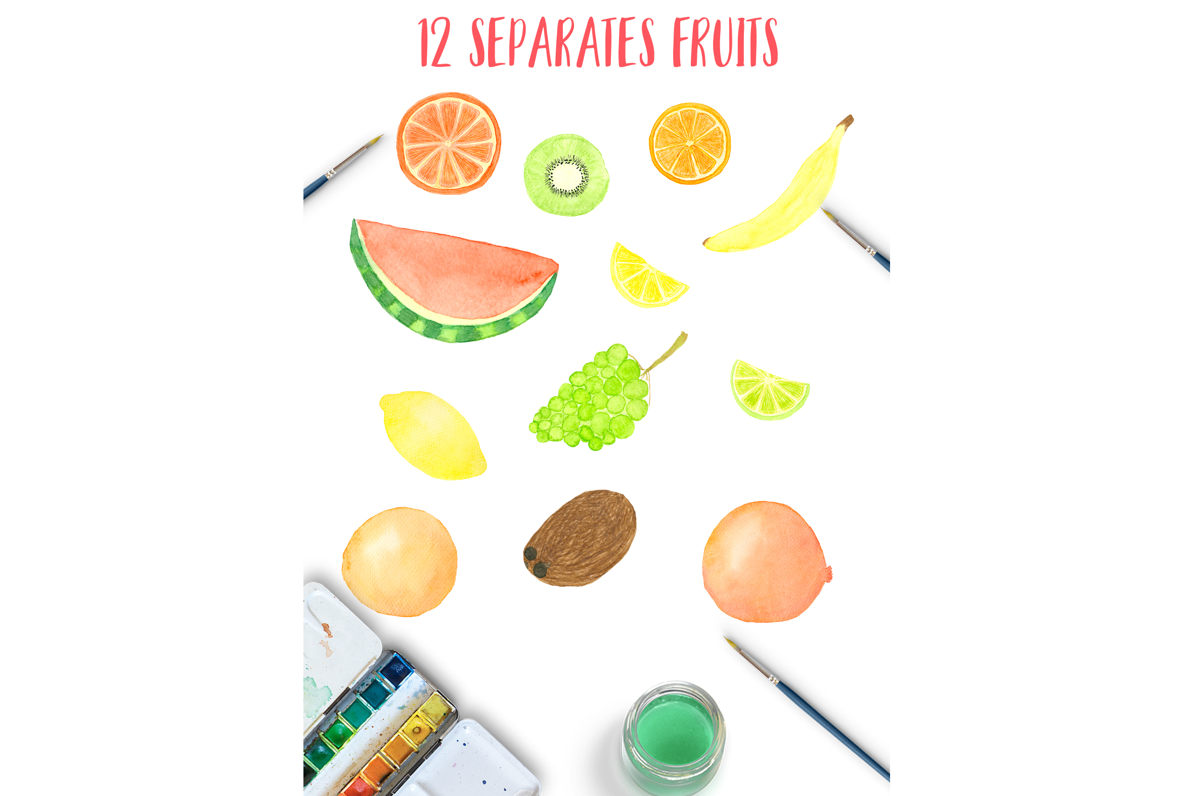 Watercolor sweet fruits example image 3