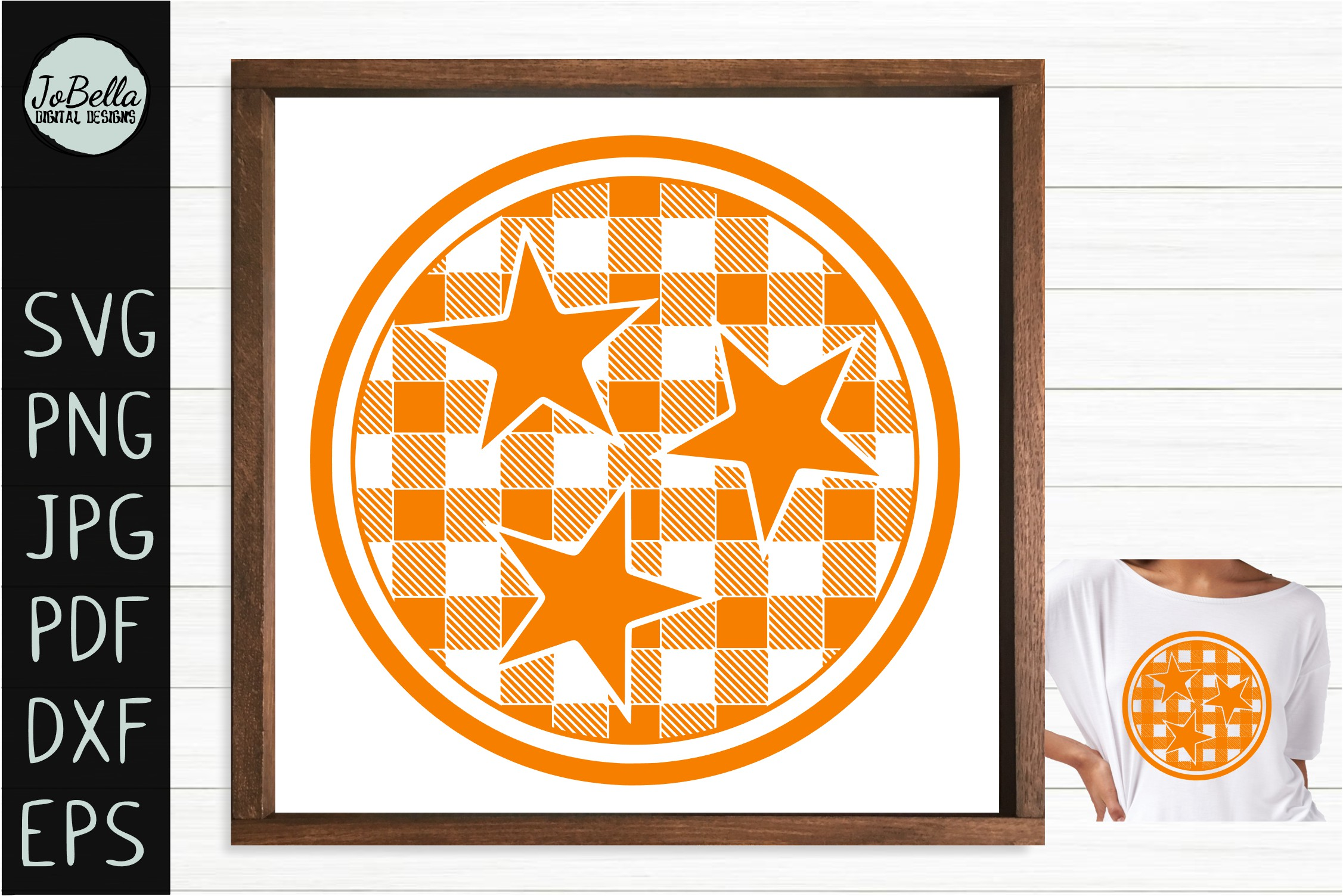 Buffalo Plaid TriStar SVG, Sublimation PNG & Printable example image 2