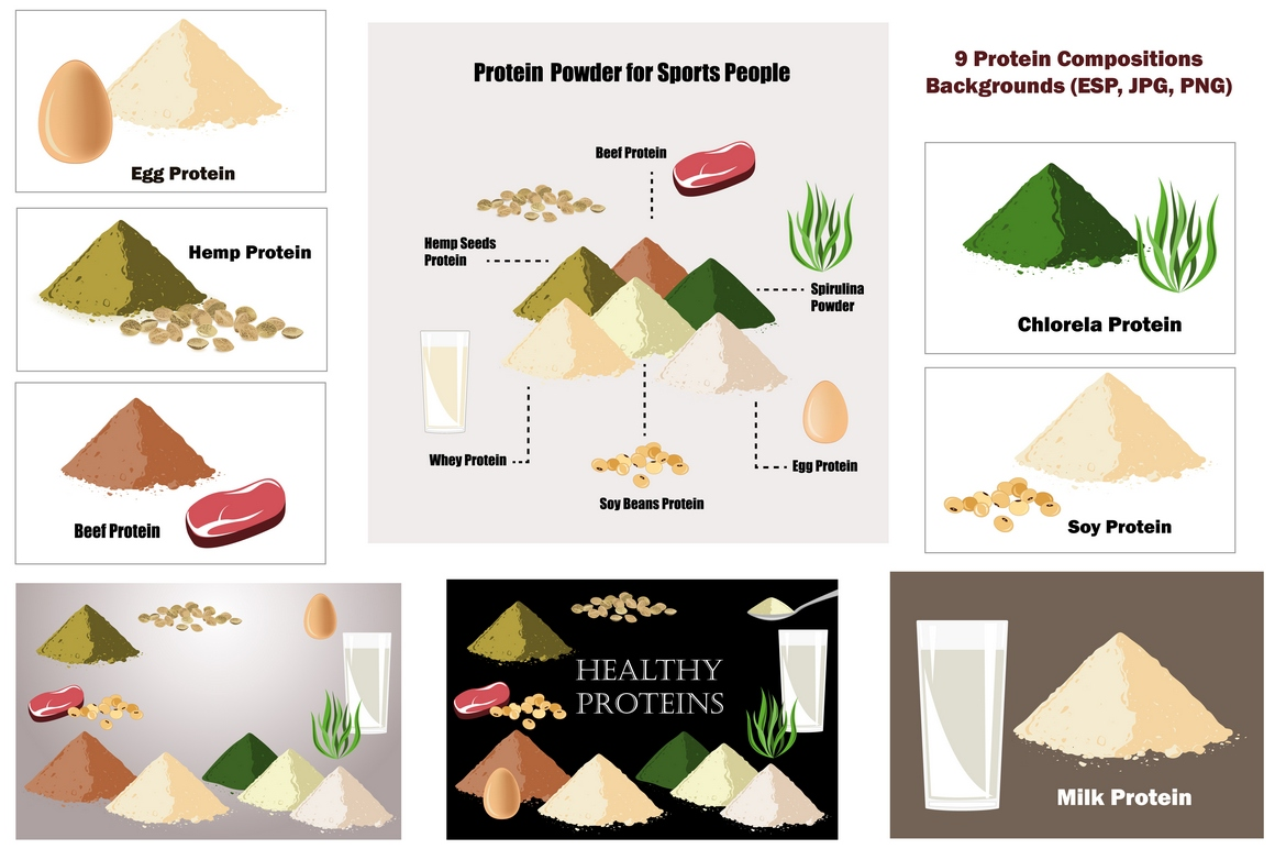 Healthy Proteins. Vector Collection example image 2