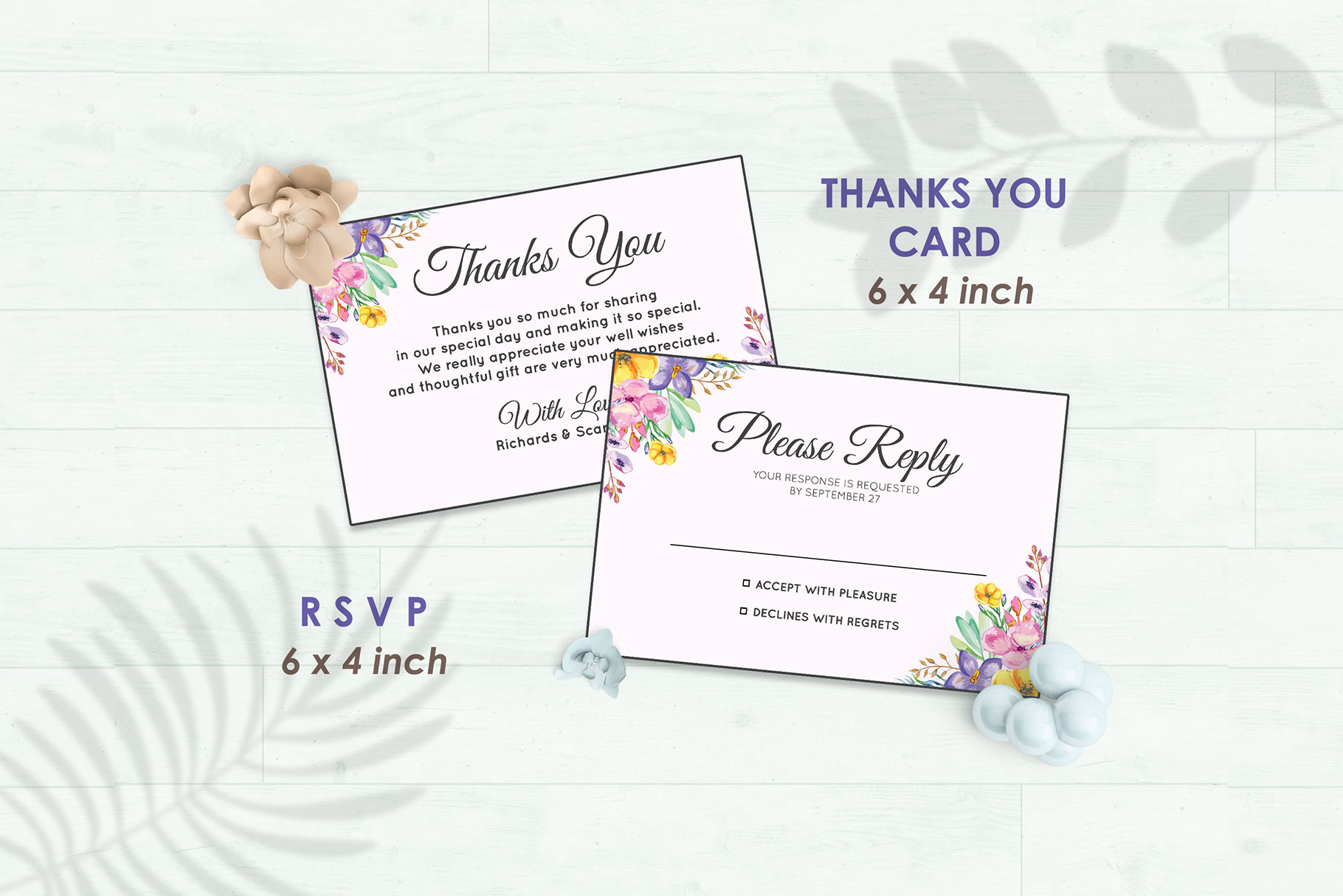 Wedding Invitation Set #1 Watercolor Floral Flower Style example image 4