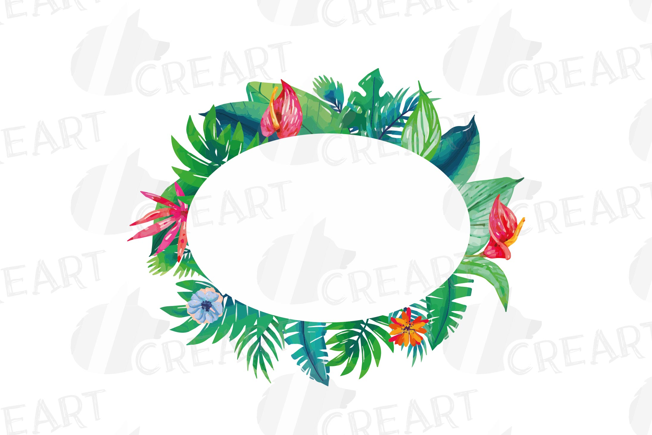 Watercolor tropical navy blue and green exotic floral frames example image 8