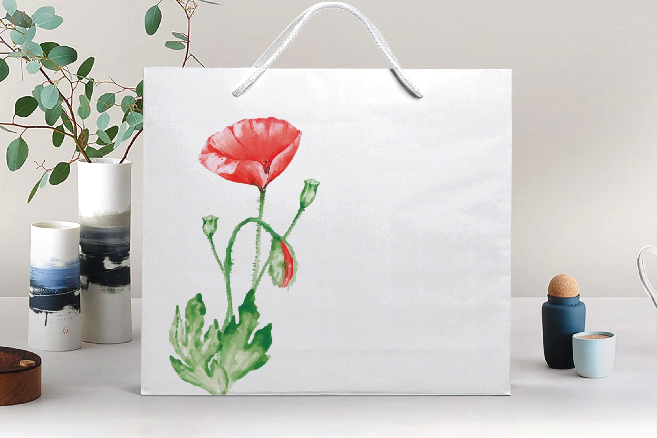Watercolor red poppy flower and leaf decor clip art. Poppies example image 11