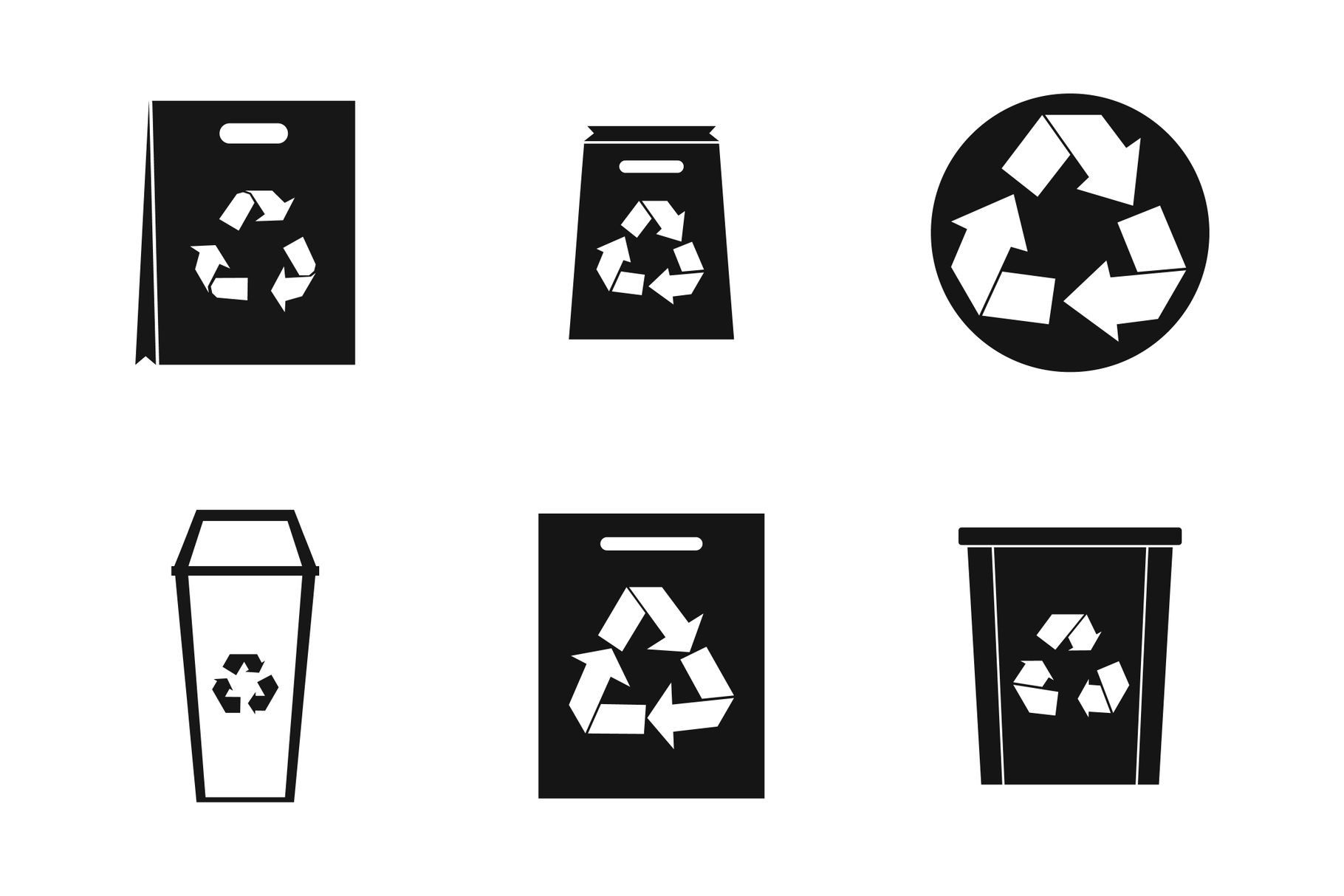 Recycle material icon set, simple style example image 1