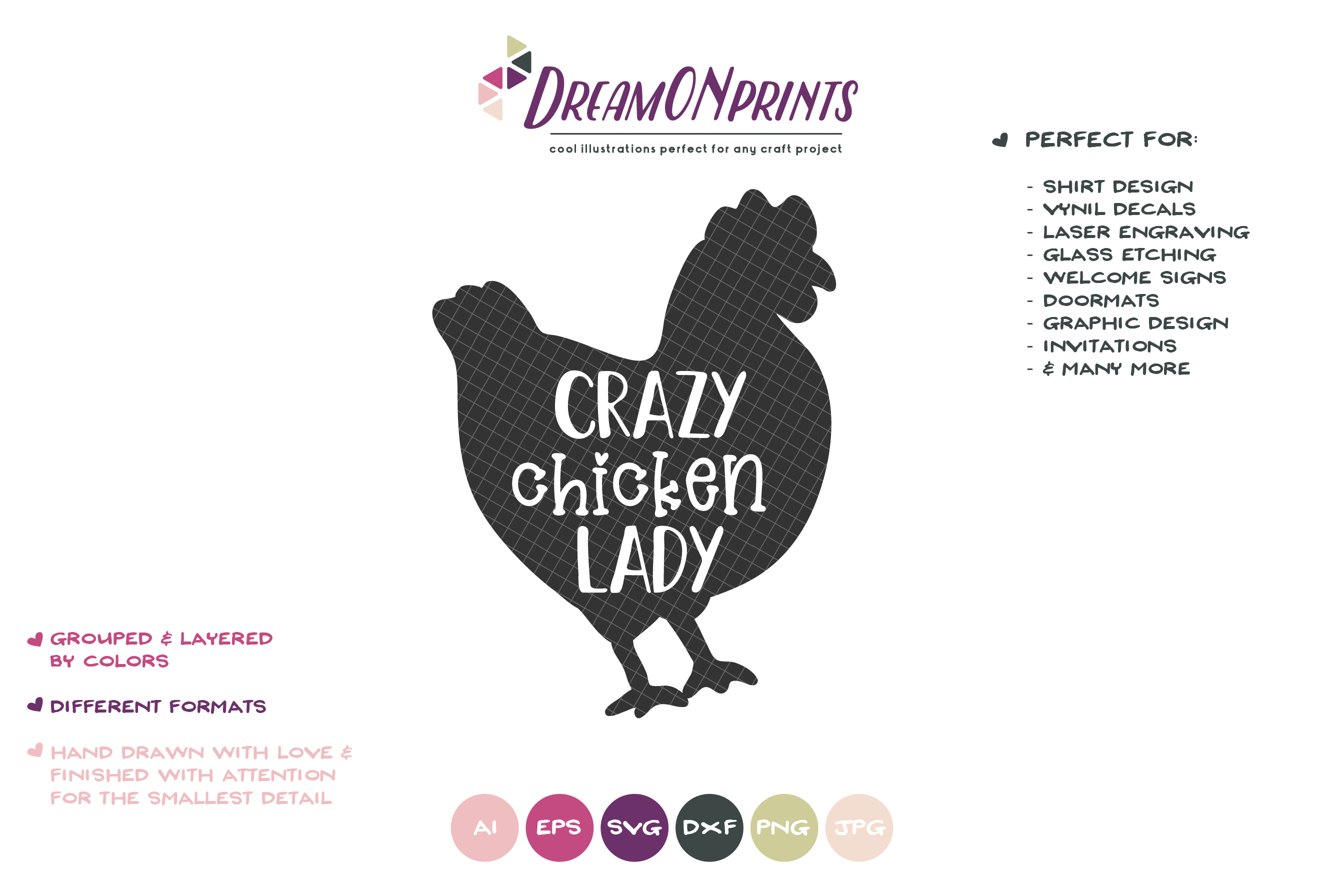 Crazy Chicken Lady SVG Cut Files example image 2