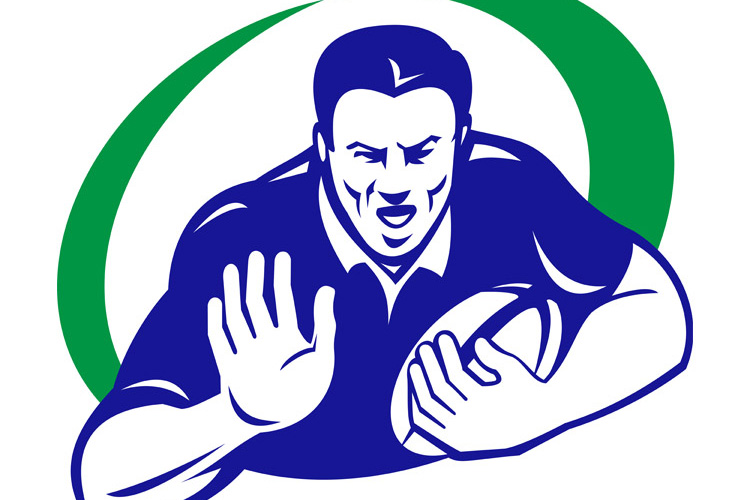 rugby player with ball fending off example image 1