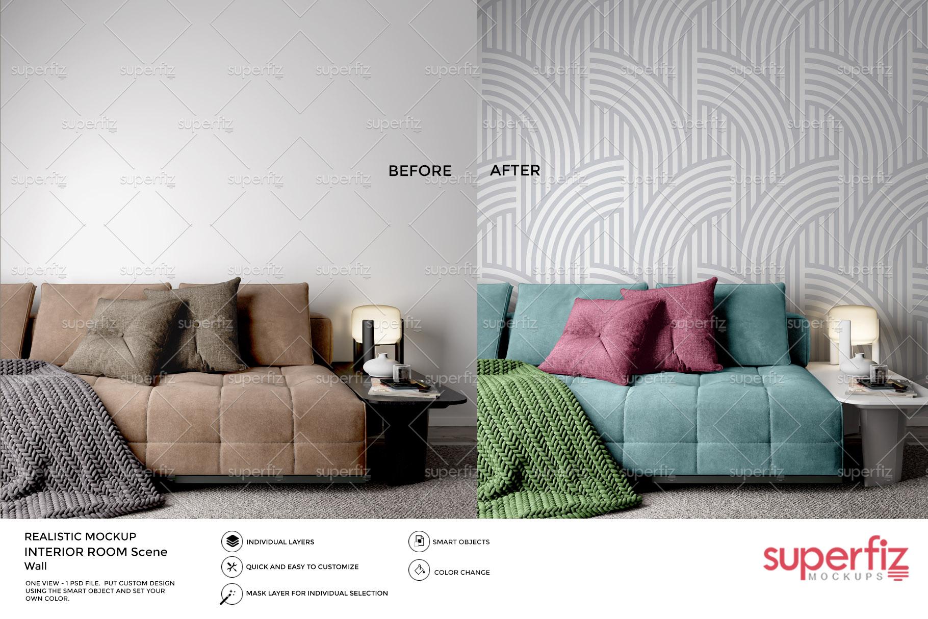 Wallpaper Mockup Bundle Vol.2 - SM98PACK - 5PSD SCENE example image 4