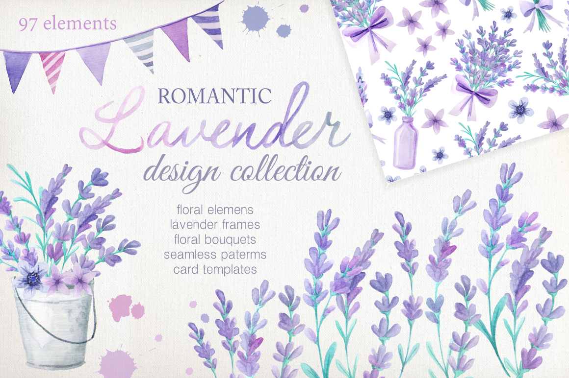 Watercolor Lavender Design Pack example image 1