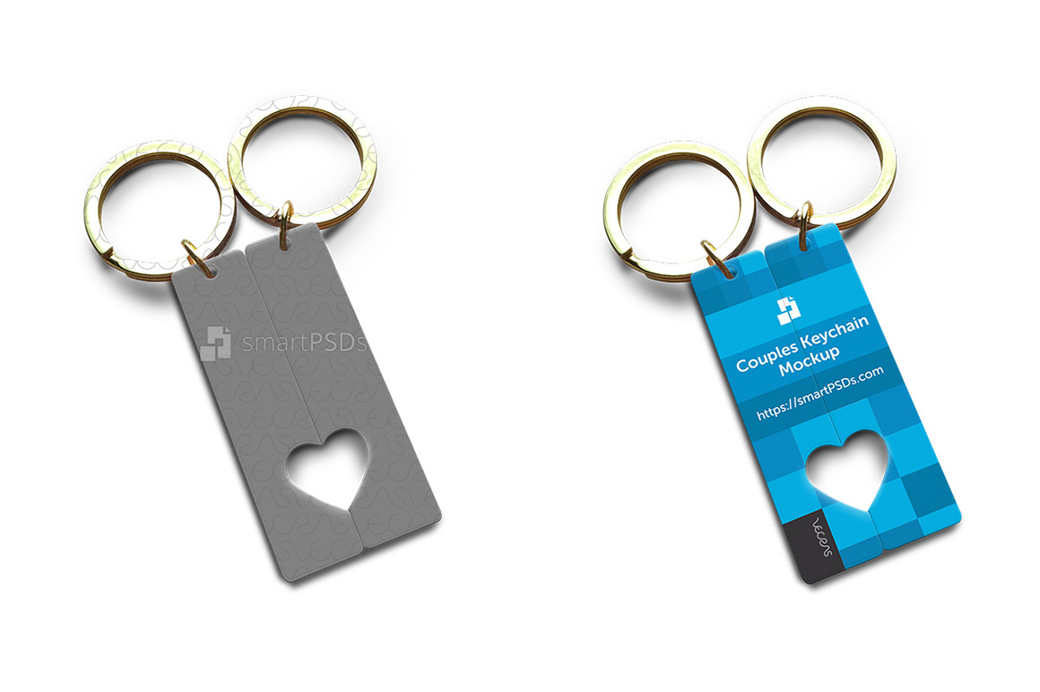 Open Heart Couples Keyring PSD Design Mockup example image 1