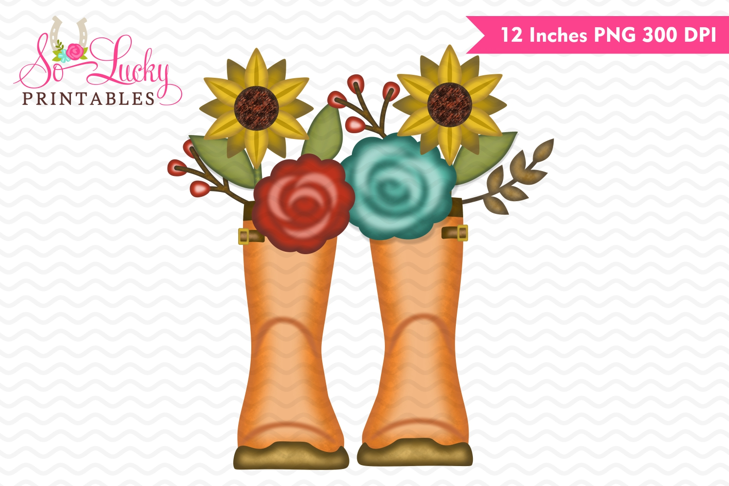 Fall rain boots watercolor fall printable sublimation example image 1
