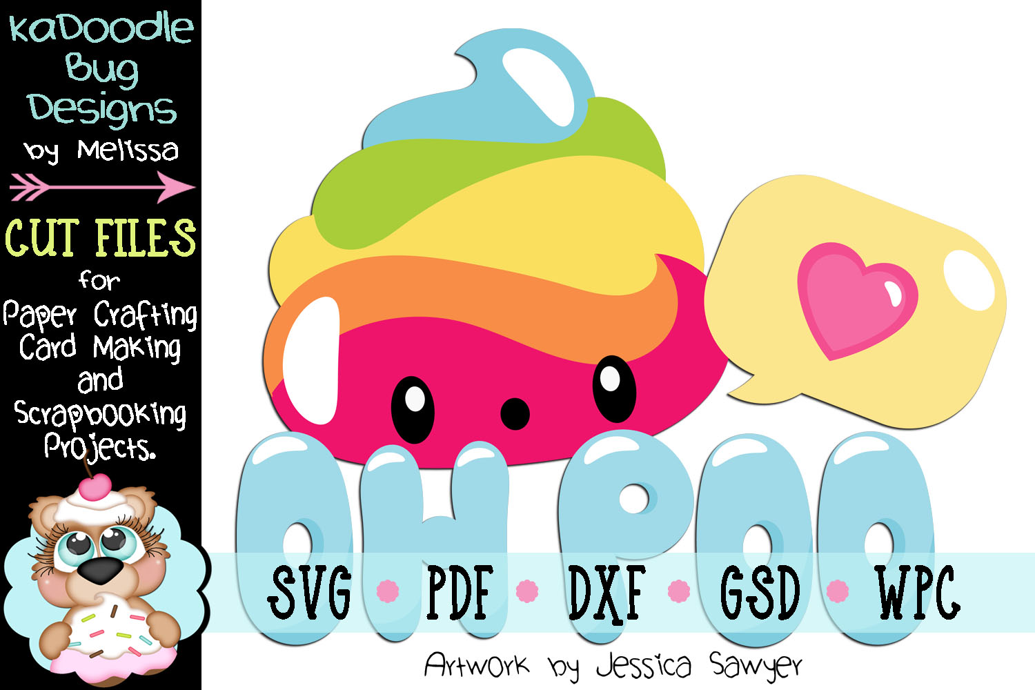 Rainbow Poo Title Cut File - SVG PDF DXF GSD WPC example image 1