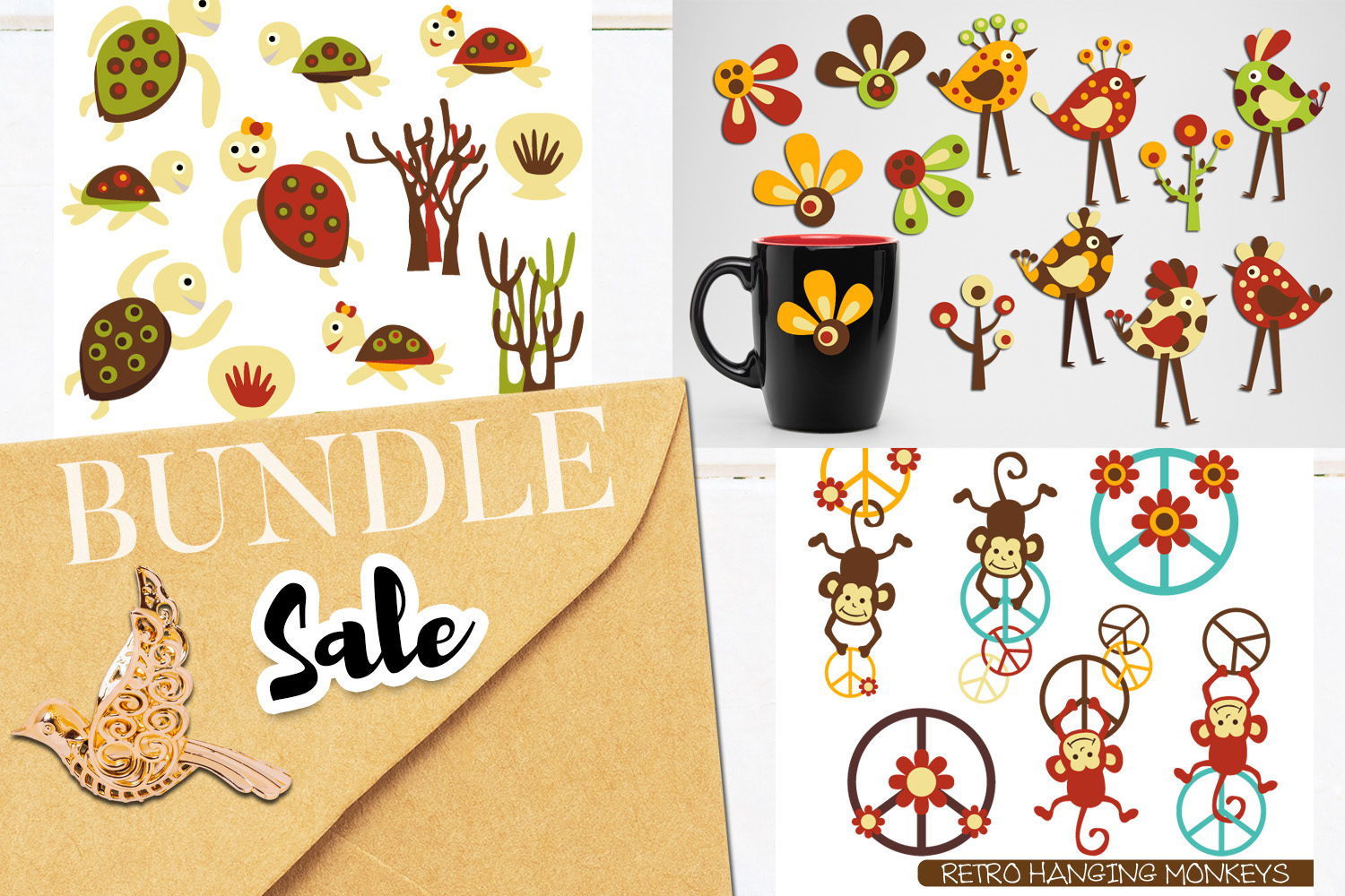 Animals clip art bundle - Birds, Monkeys, Seaturtles example image 1