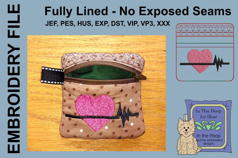 Heart Healthy Mini Zipper Bag / Fully Lined, 4X4 HOOP example image 2