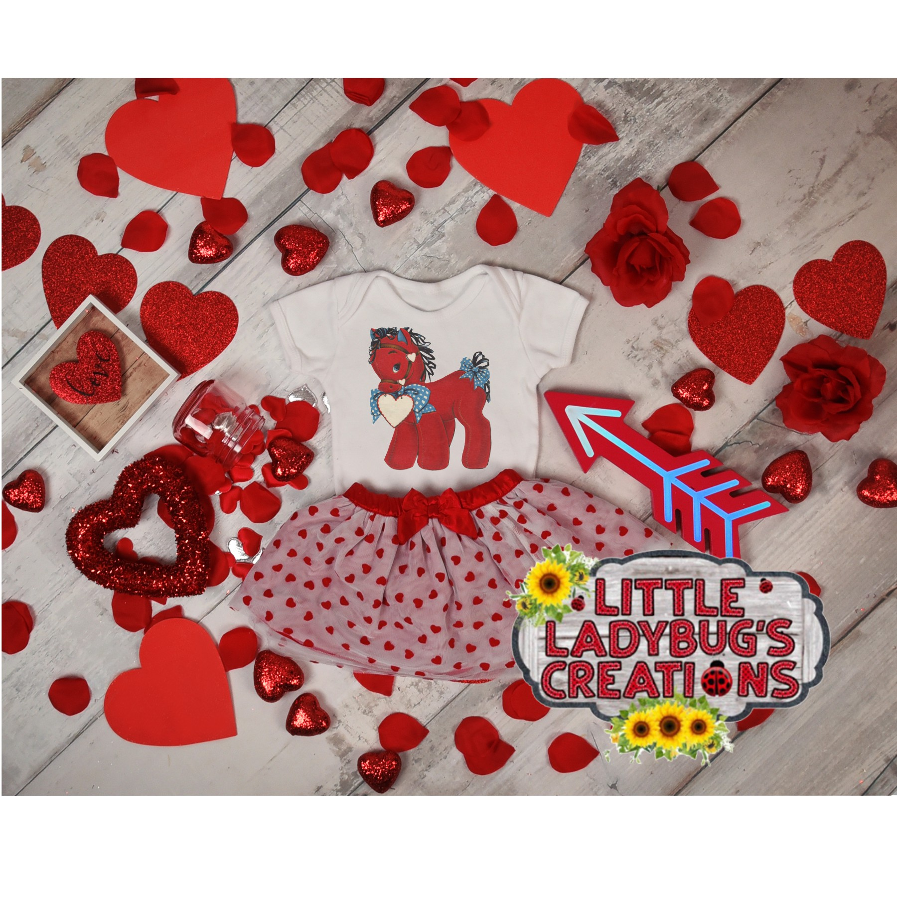 Vintage Valentine Horse 300DPI PNG Printable Digital Design example image 2