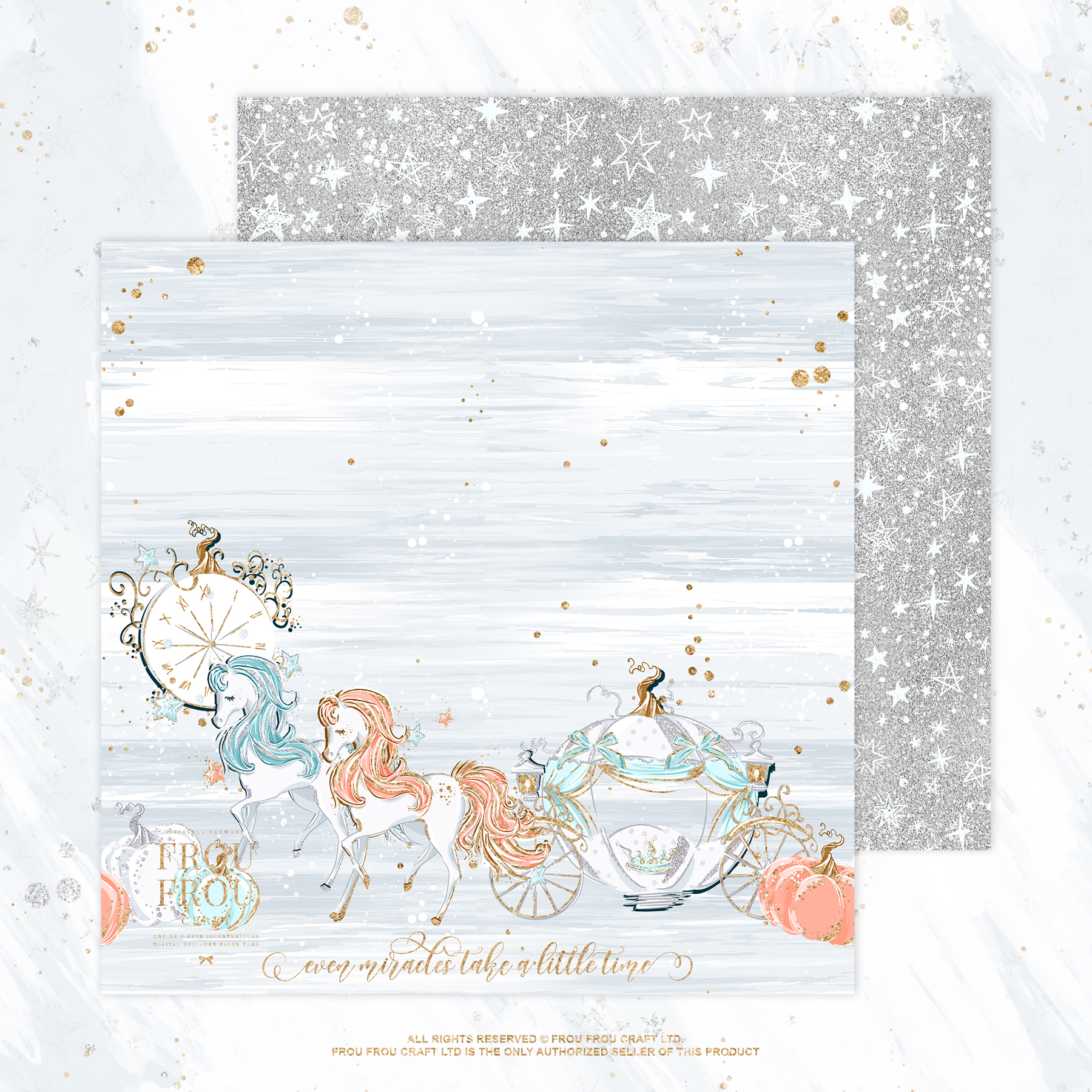 Princess Fairy Tale Gold Glitter Paper Pack example image 9