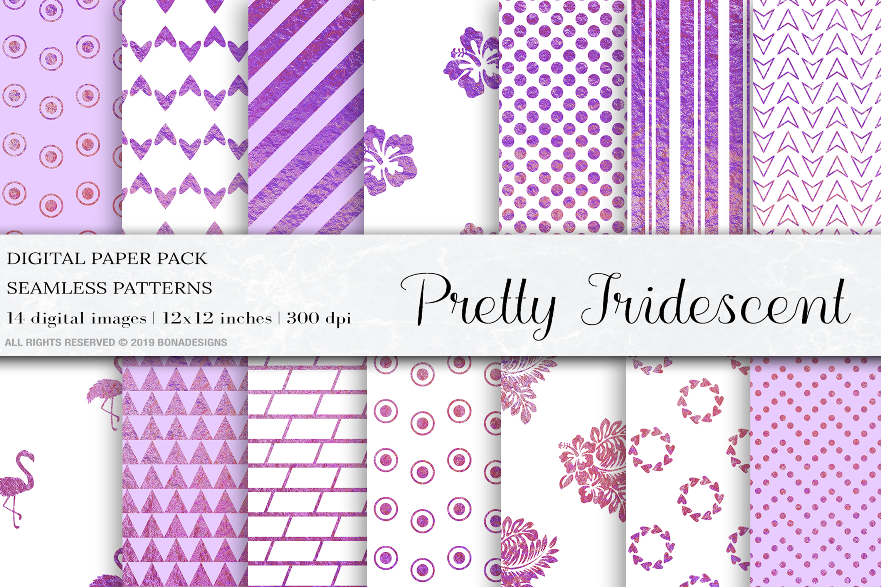 Pretty Iridescent Digital Papers, Iridescent Patterns example image 1