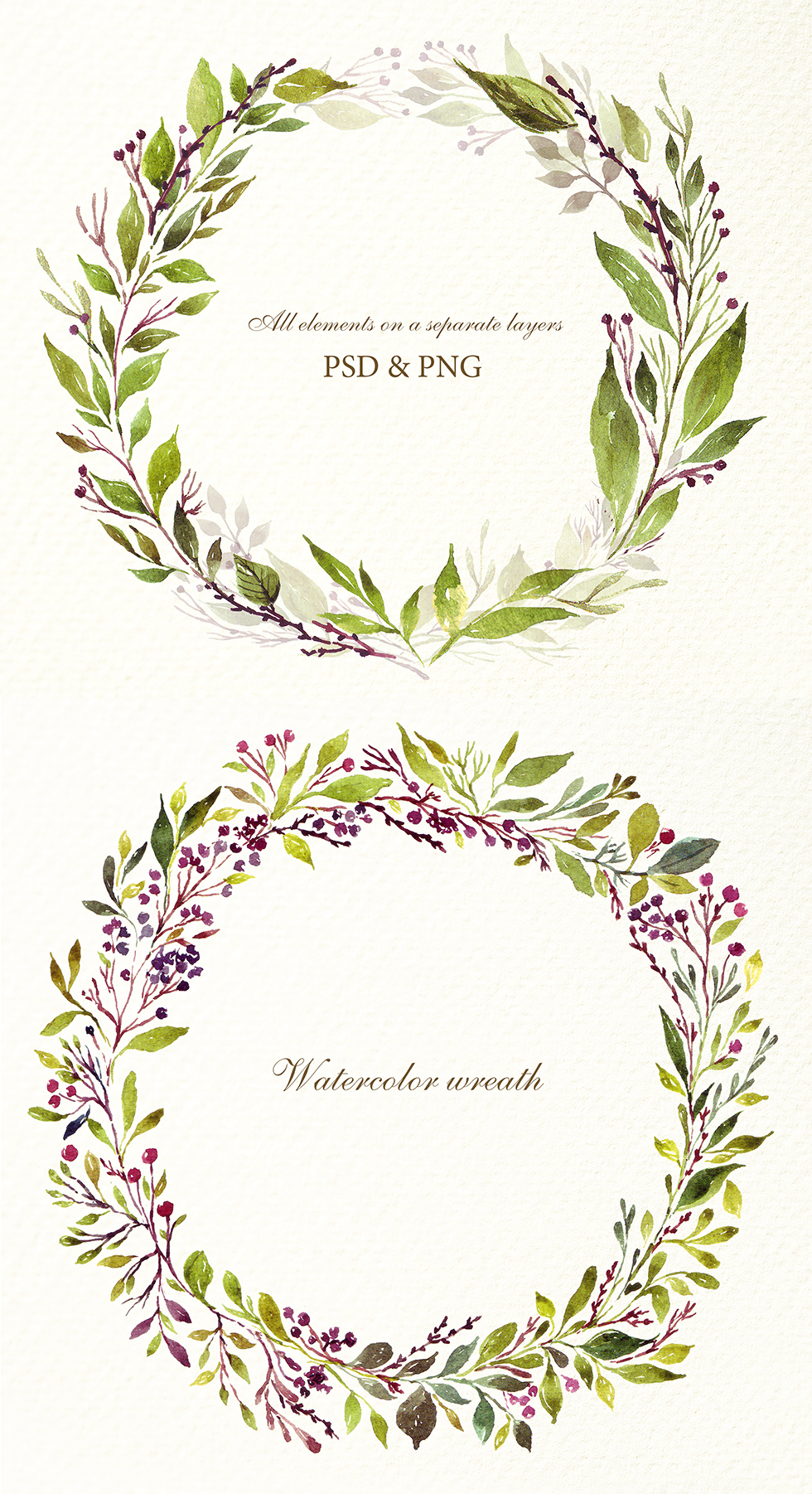 Watercolor floral green elements example image 3