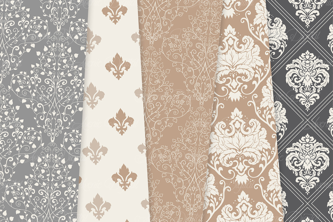 28 Neutral Damask Patterns - Wedding Seamless Digital Papers Bundle example image 4
