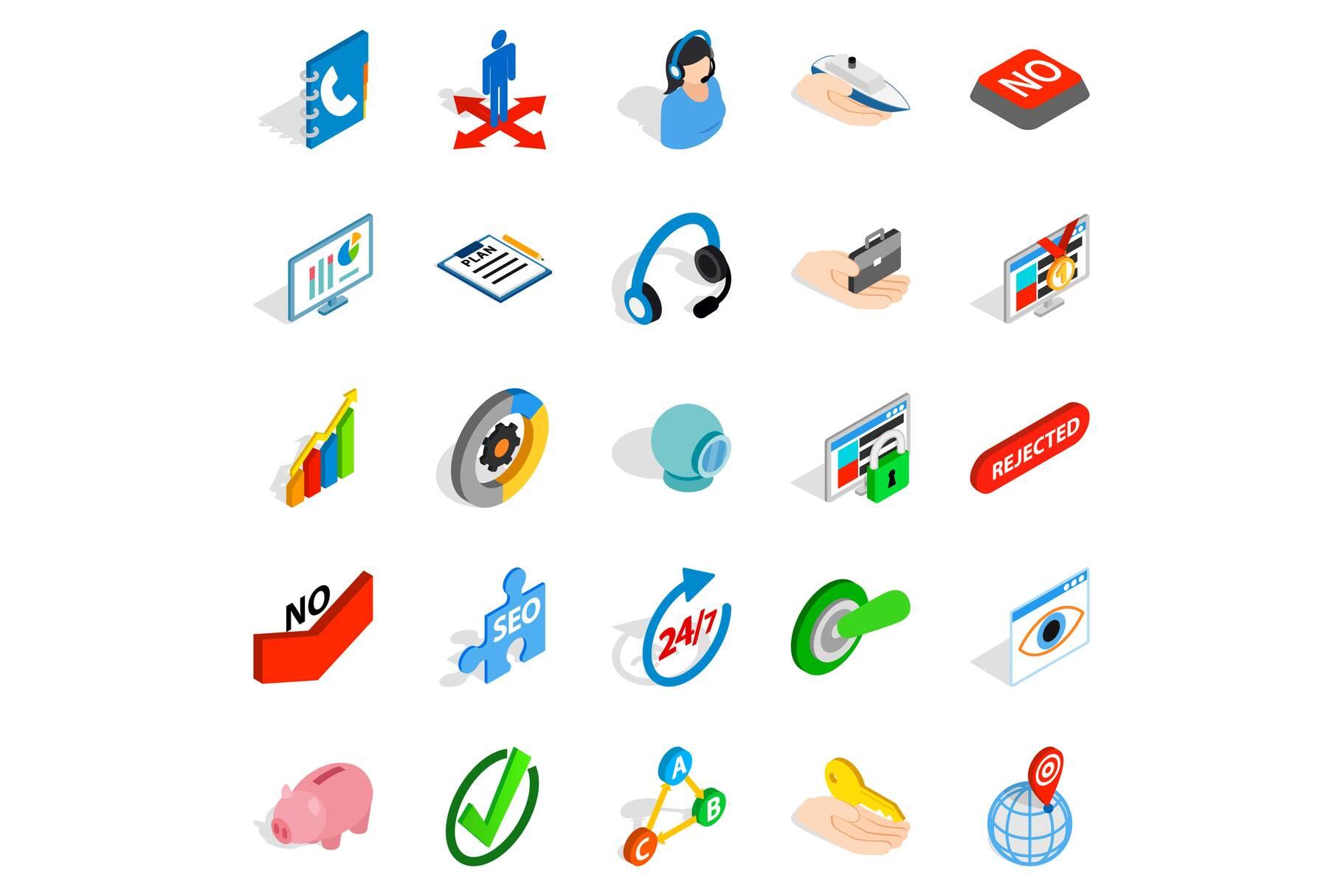 Career icons set, isometric style example image 1