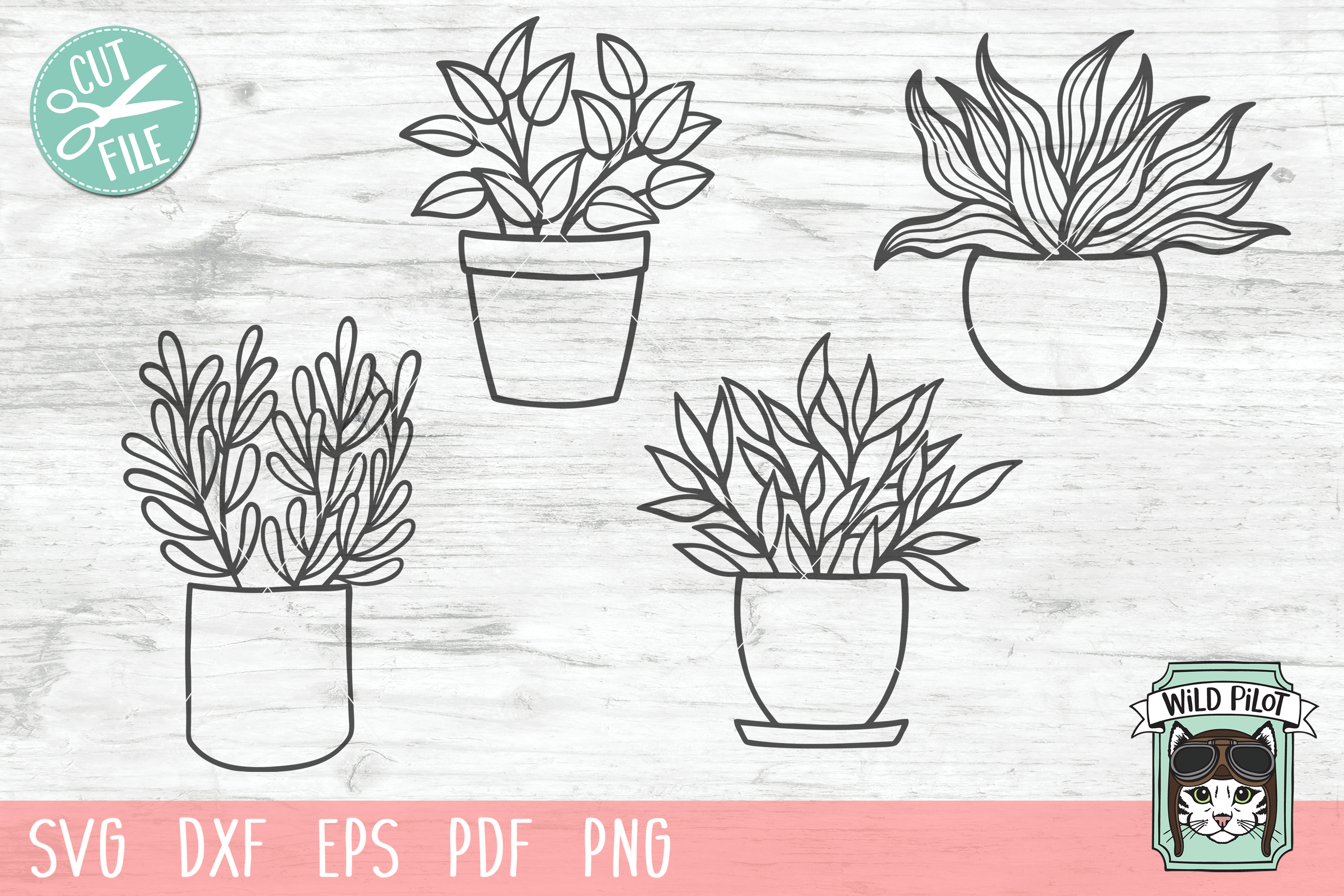 Plants SVG files, Potted Plants cut files, Planters, Garden example image 1