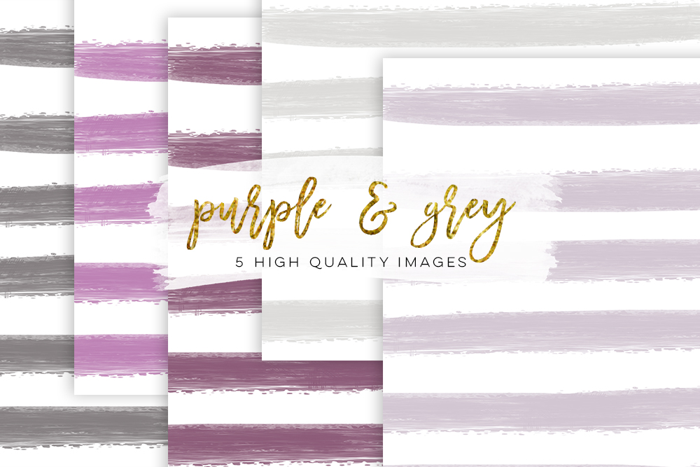 Purple digital paper, lavender Watercolor rose, lavender Watercolor stripe, invitation paper, book background, Gray Stripe Watercolor example image 2
