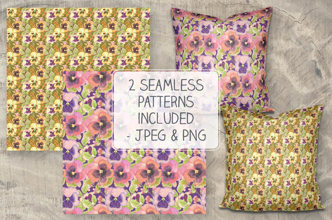 Colorful pansies: sprays and patterns in watercolor example image 5