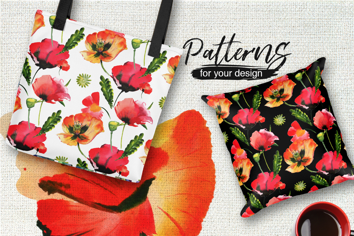 Poppy flowers PNG watercolor set example image 2