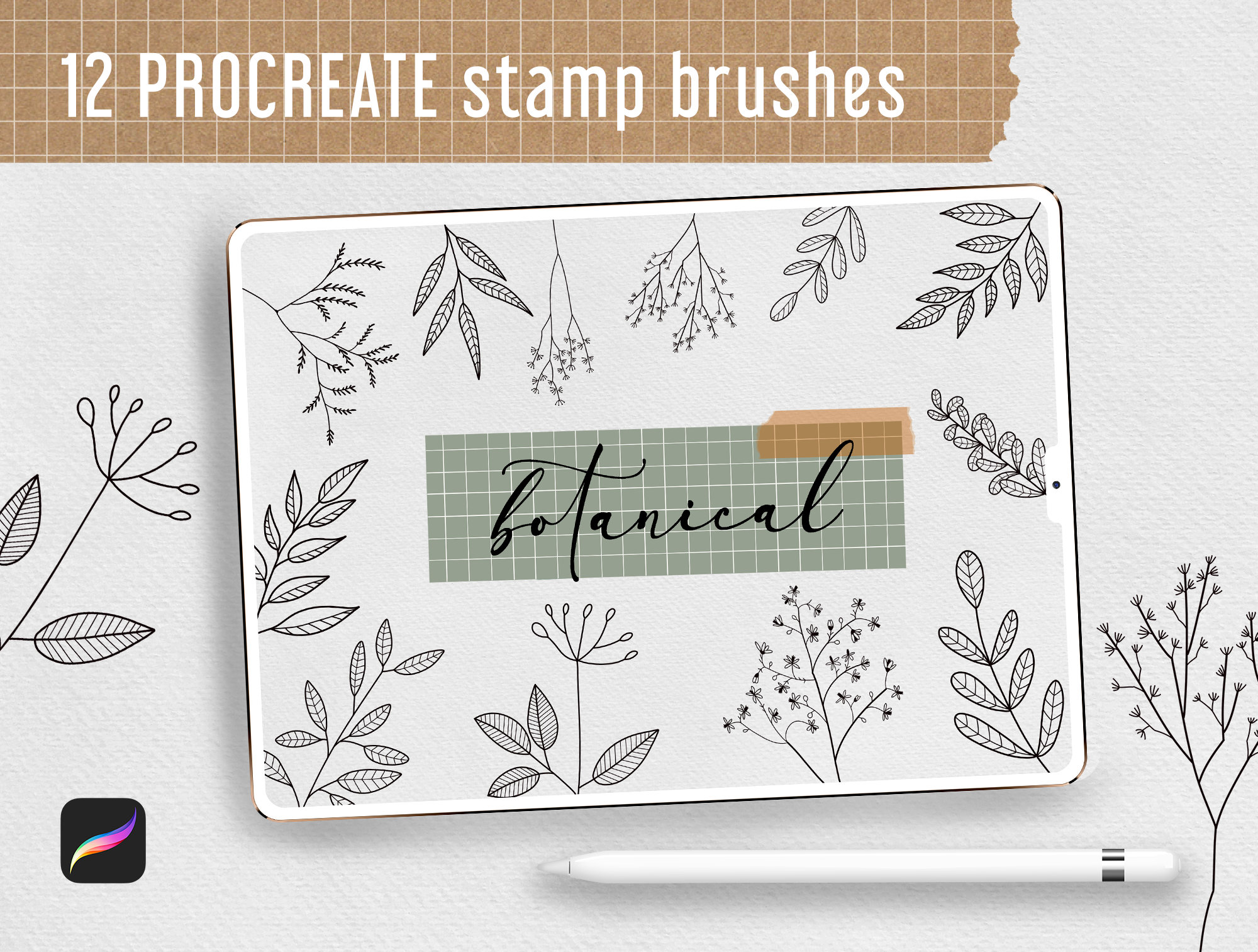 Procreate Stamp Brushes Bundle - 122 elements   Botanical example image 6