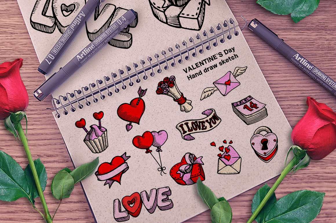 Valentine's Day Hand Draw example image 1
