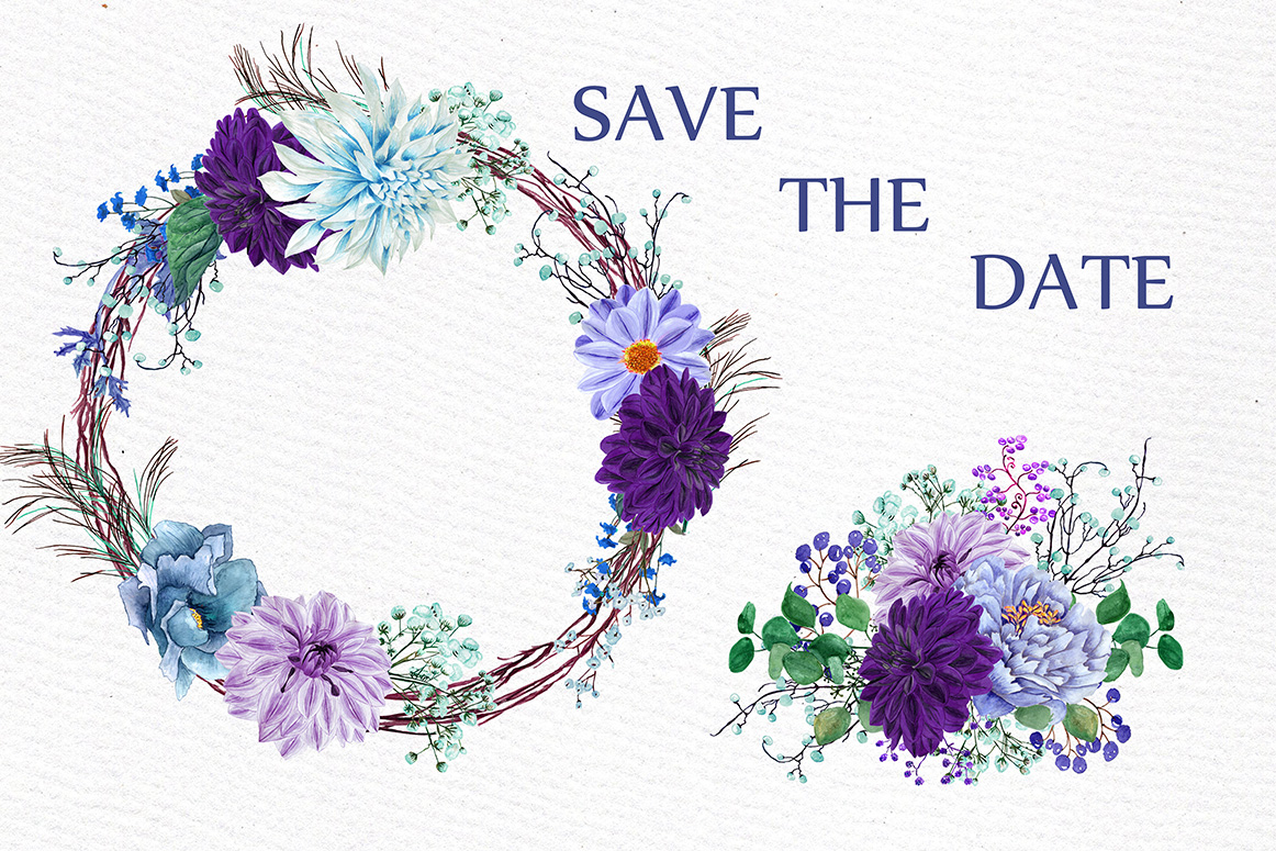 Watercolor Purple Wreaths Clipart example image 3
