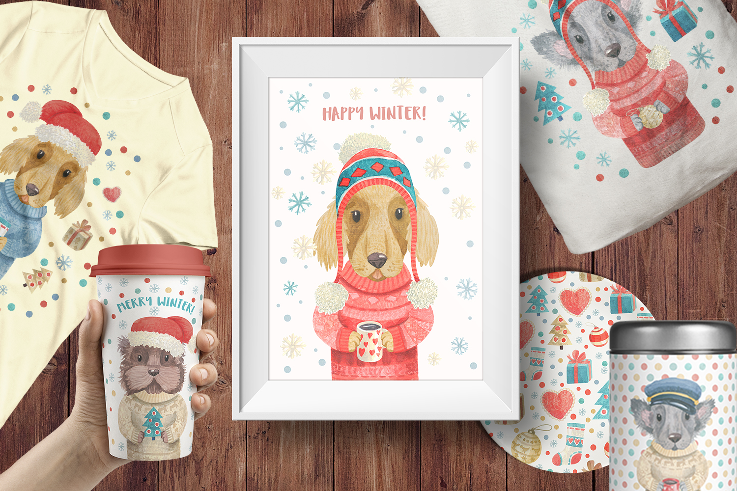 Winter Dogs Watercolor Clipart Collection example image 8