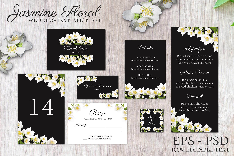 Jasmine floral wedding invitation set example image 3