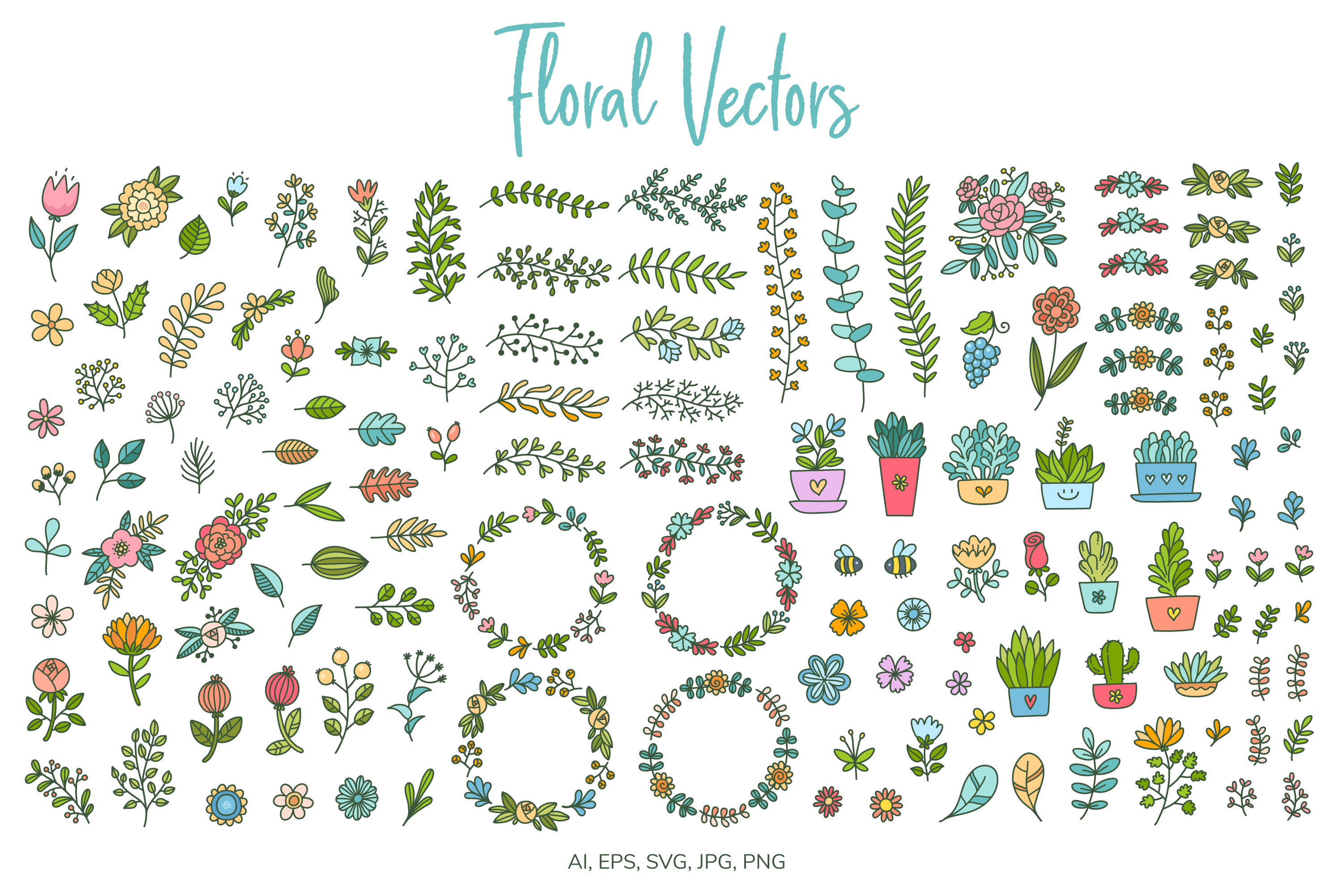 HUGE - Hand Drawn Floral Vectors and Patterns example image 2