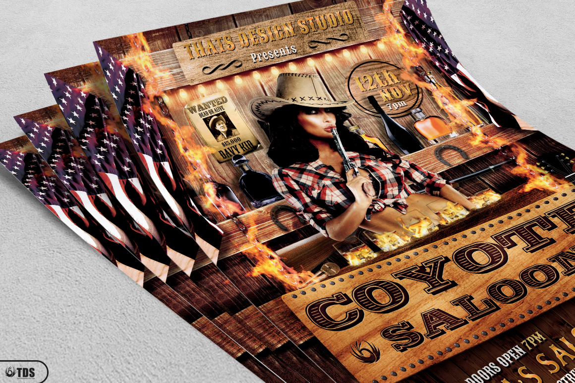 Coyote Bar Flyer Template example image 3
