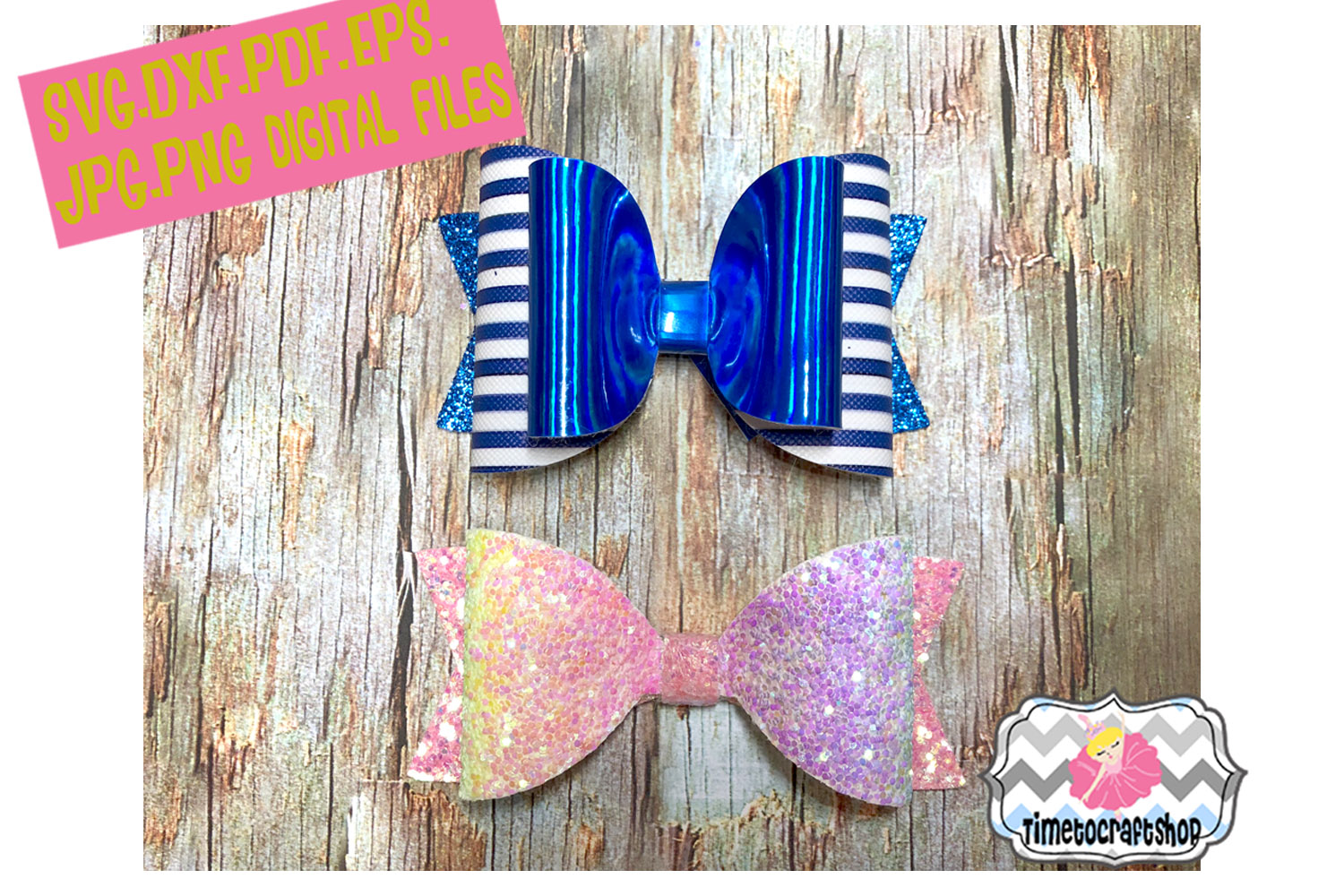 2 Styles Classic Hair bow Template example image 1