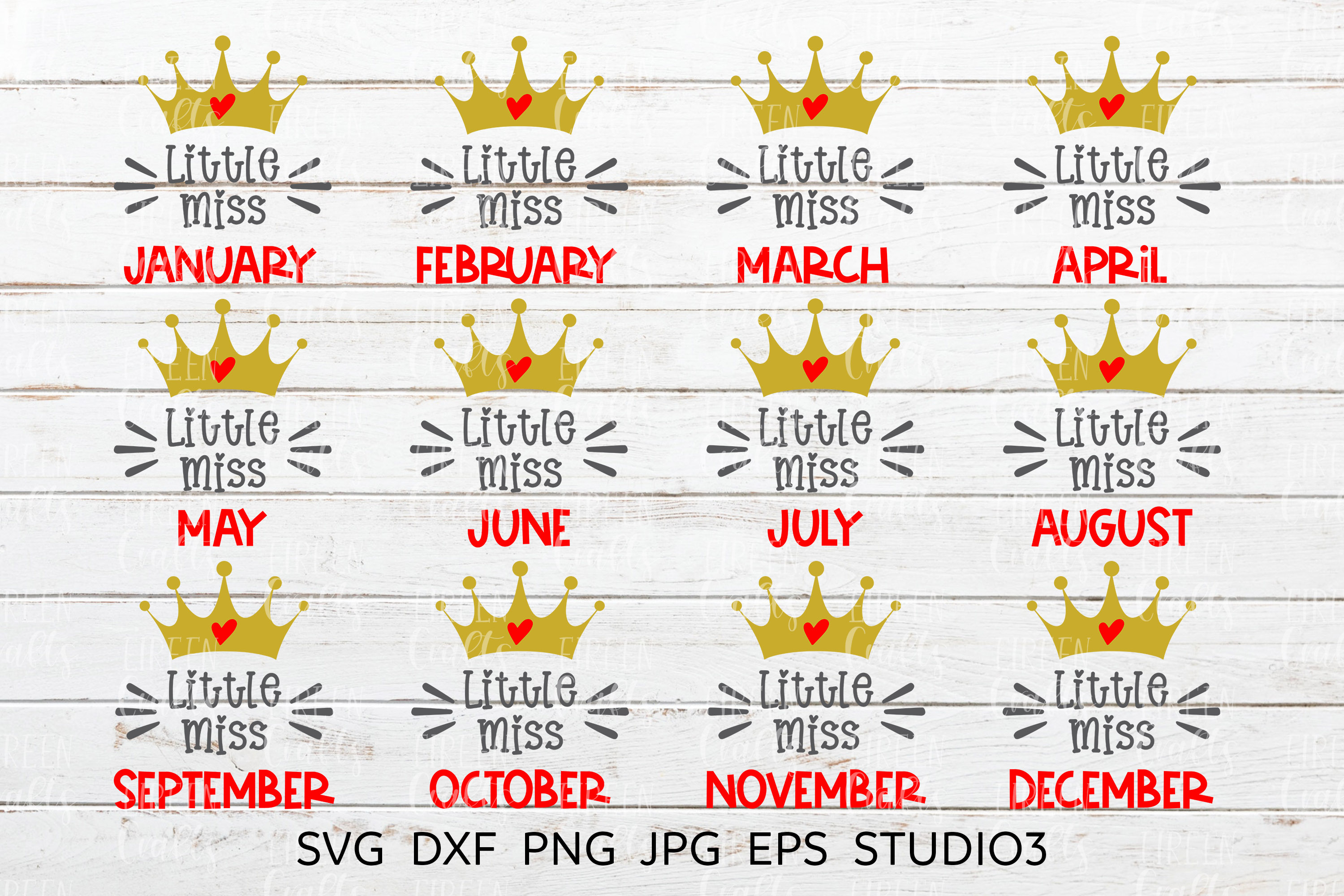 Little Miss January to Little Miss December SVG bundle example image 1