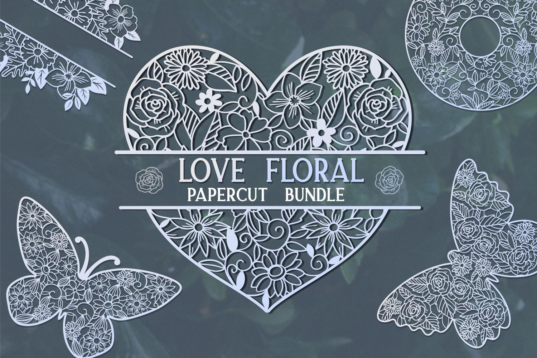 Love Floral Papercut Bundle- 14 SVG cut files example image 1